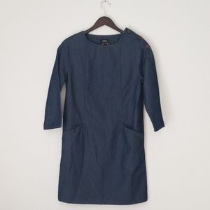 A. P. C. chambray buttoned shoulder tunic dress